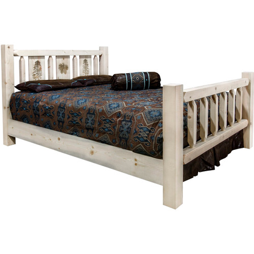 Ranchman's Bed with Laser-Engraved Pine Tree Design