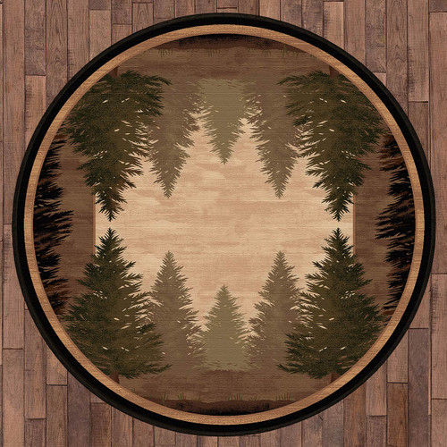 Tall Pine Woods Rug - 8 Ft. Round