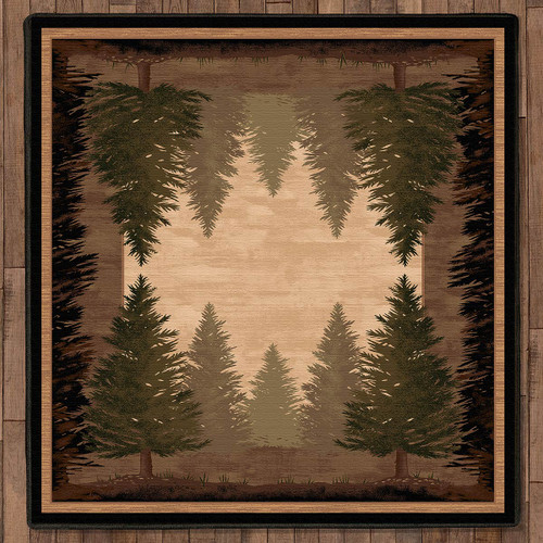Tall Pine Woods Rug - 8 Ft. Square