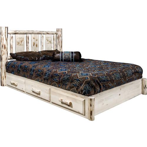 Ranchman's Platform Bed with Storage & Laser-Engraved Bear Design