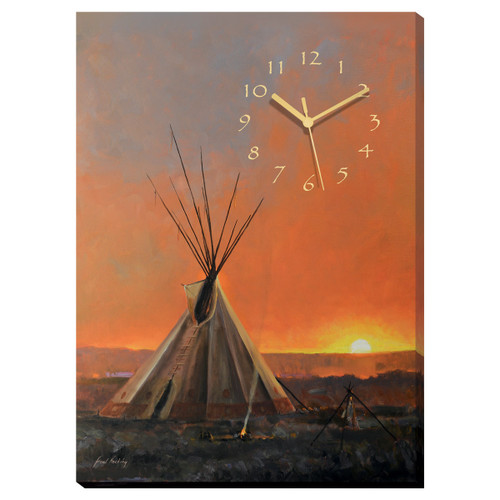 Teepee Sunset Canvas Wall Clock - OVERSTOCK