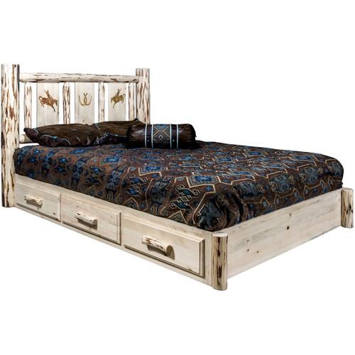 Ranchman's Platform Bed with Storage & Laser-Engraved Bronc Design