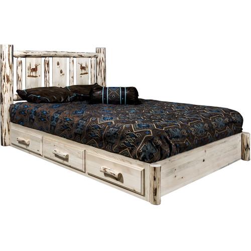 Ranchman's Platform Bed with Storage & Laser-Elk