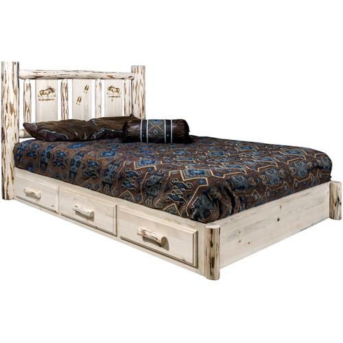 Ranchman's Platform Bed with Storage & Laser-Engraved Moose Design