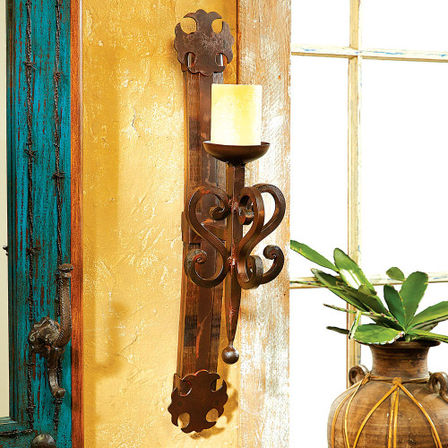 Tequila Barrel Scroll Wall Candle Holder