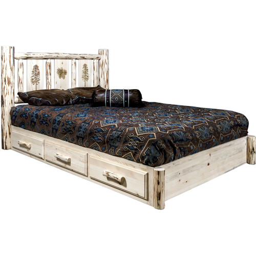 Ranchman's Platform Bed with Storage & Laser-Engraved Pine Design