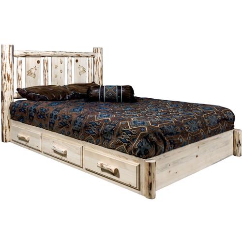 Ranchman's Platform Bed with Storage & Laser-Engraved Wolf Design