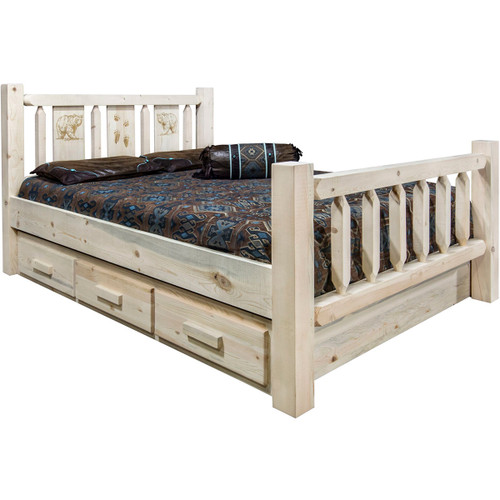 Ranchman's Storage Bed with Laser-Engraved Bear Design