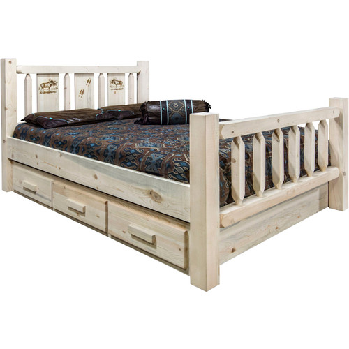 Ranchman's Storage Bed with Laser-Engraved Moose Design