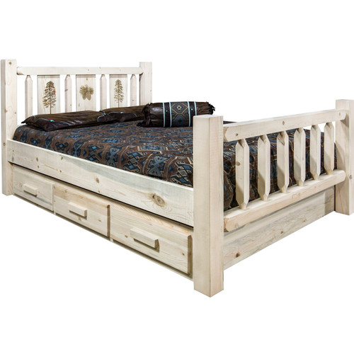 Ranchman's Storage Bed with Laser-Engraved Pine Design