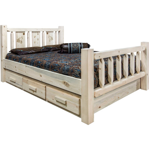 Ranchman's Storage Bed with Laser-Engraved Wolf Design