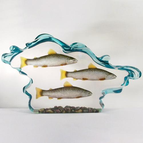 Three Salmon in Water Figurine