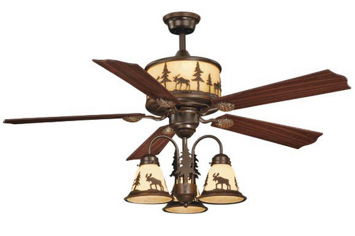 Timberland Ceiling Fan with Moose Downlights - BACKORDERED UNTIL 11/16/2021