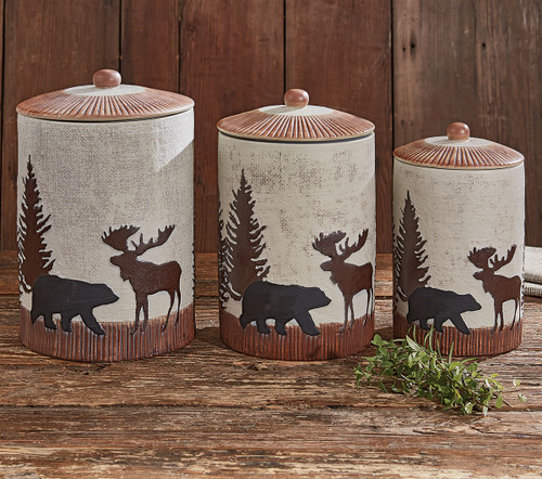 Timberland Moose & Bear Ceramic Canisters - Set of 3