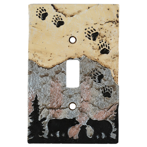 Bear Tracks Stone Switch Covers