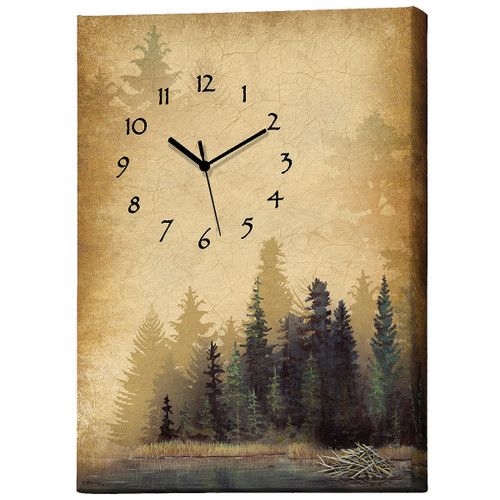 Tranquil Timber Wrapped Canvas Wall Clock