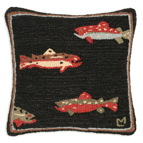 Trout Hooked Wool Pillow