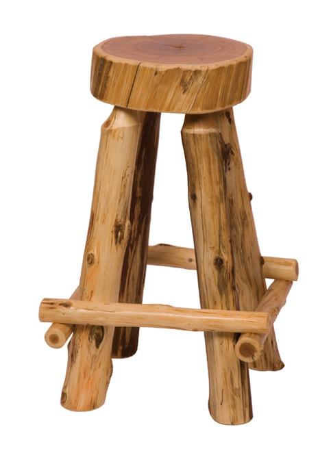 White Cedar Slab Log Barstool - 30 Inch