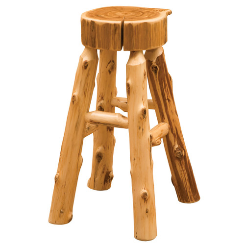 Cedar Slab Log Counterstool - 24 Inch