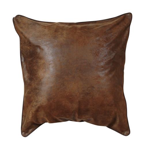 Medium Brown Faux Leather Euro Sham