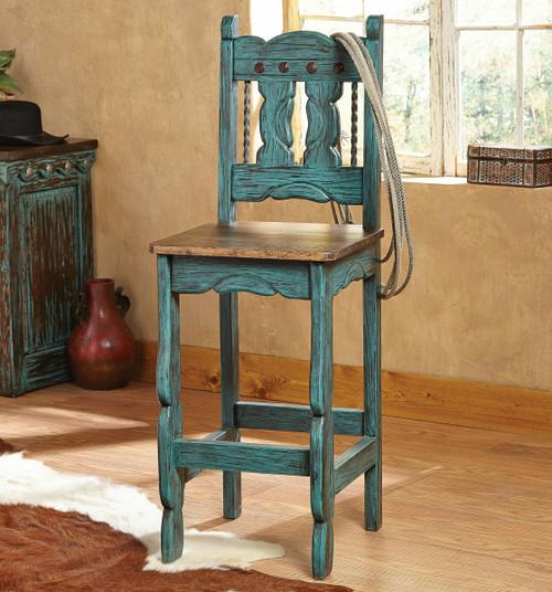 Turquoise Santa Fe Barstool - Set of 3