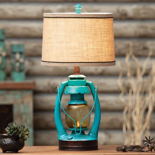 Turquoise Vintage Lantern Table Lamp - BACKORDERED UNTIL 11/18/2021