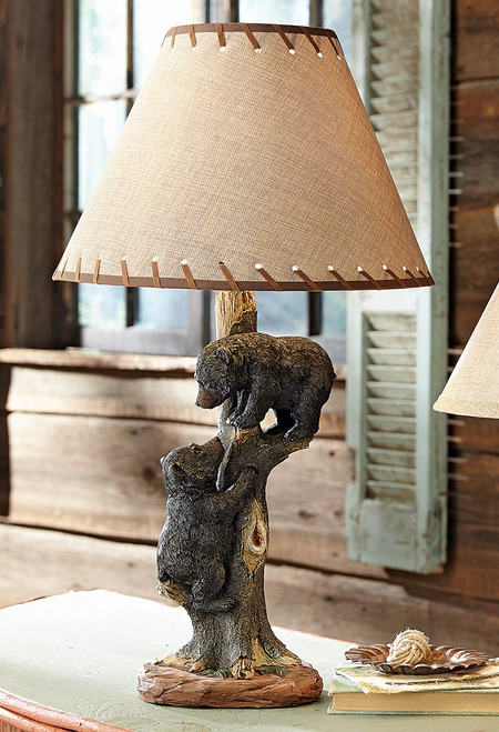 Two Bear Cubs Table Lamp
