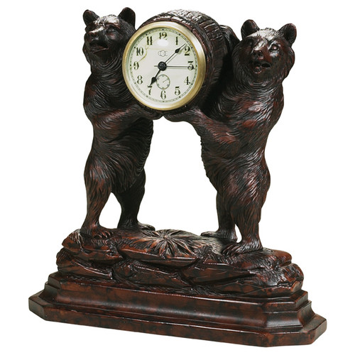 Two Bears Black Forest Clock