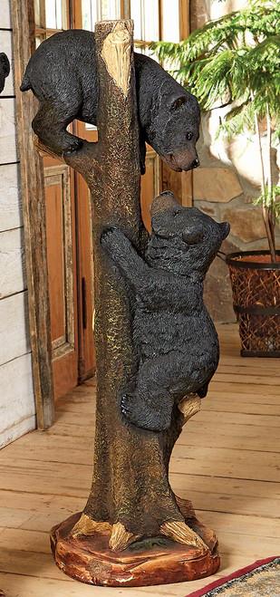 Two Black Bears Climbing Sculpture - Large