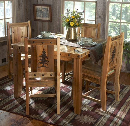 Barnwood Table & Chairs w/Carved Trees (5 pcs)