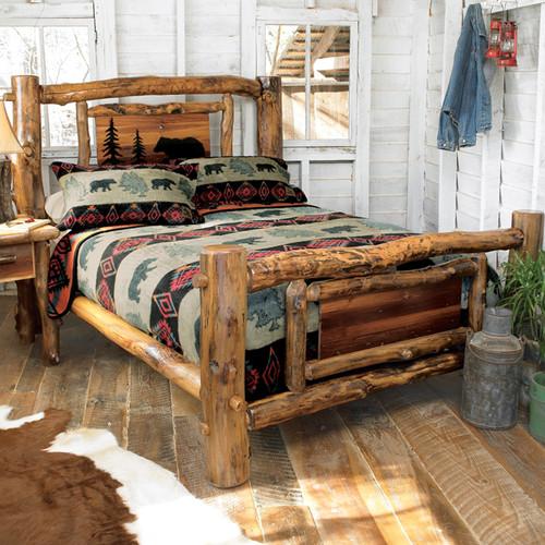 Aspen Creek Log Bear Bed - Full