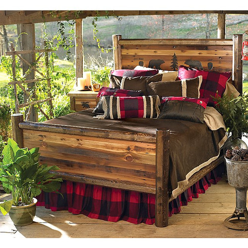 Bear Paw Barnwood Bed w/Bear Carvings - Queen