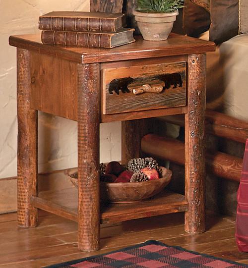 Pine Crest Bear Log Nightstand