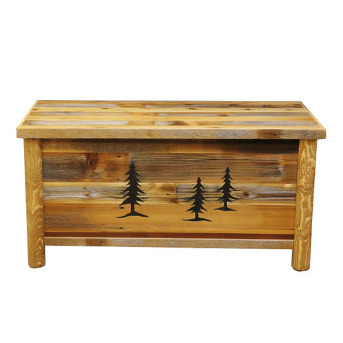 Barnwood Blanket Chest w/Tree Carvings