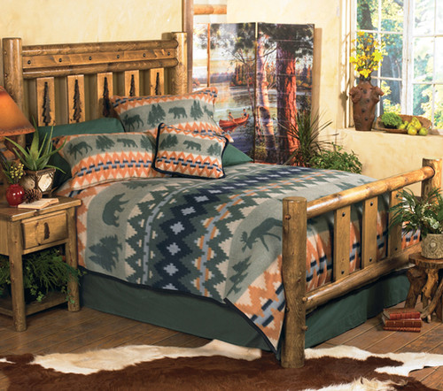 Mountain Forest Log Bed - Queen