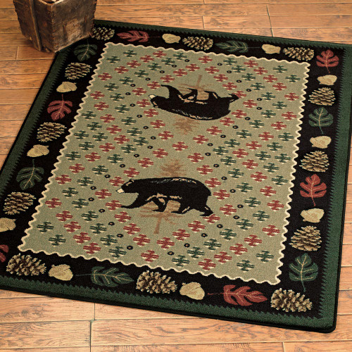 Bear Patchwork Green Rug Collection