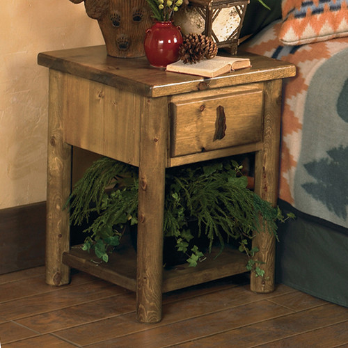 Mountain Forest Log Nightstand
