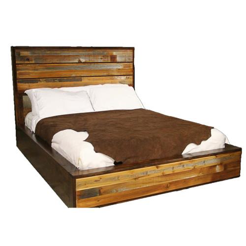 Rustic Barnwood Platform Bed - King
