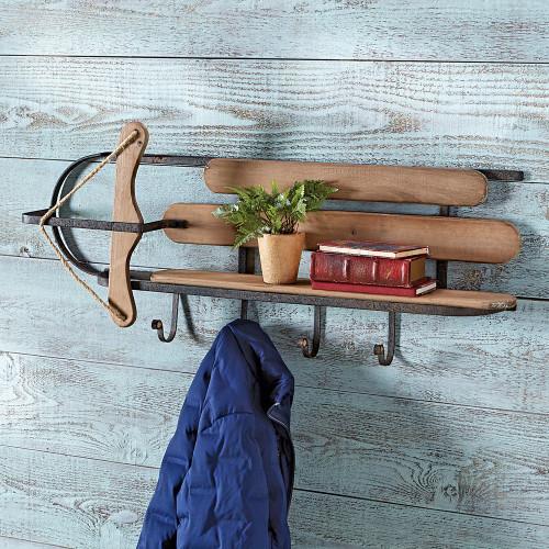 Vintage Style Sleigh Storage Shelf