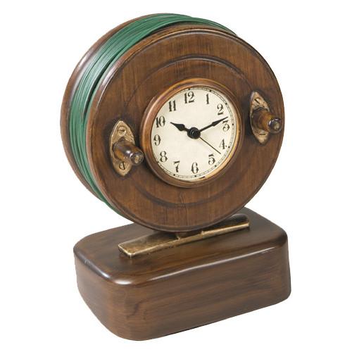Vintage Wooden Look Fly Reel Clock