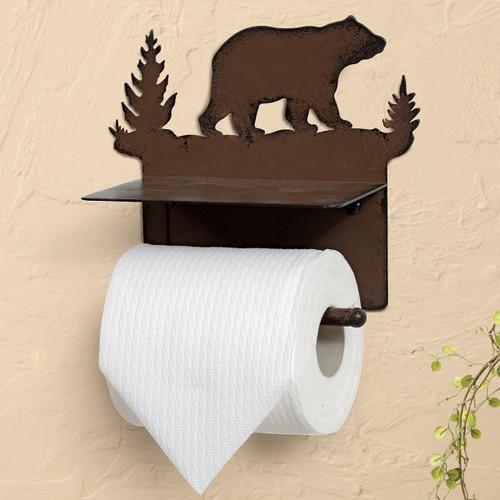 Walking Bear Metal Toilet Paper Holder