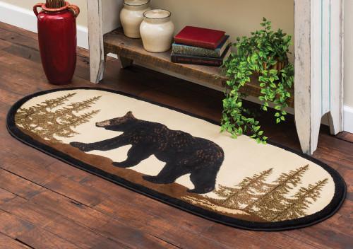 Walking Bear Oval Rug