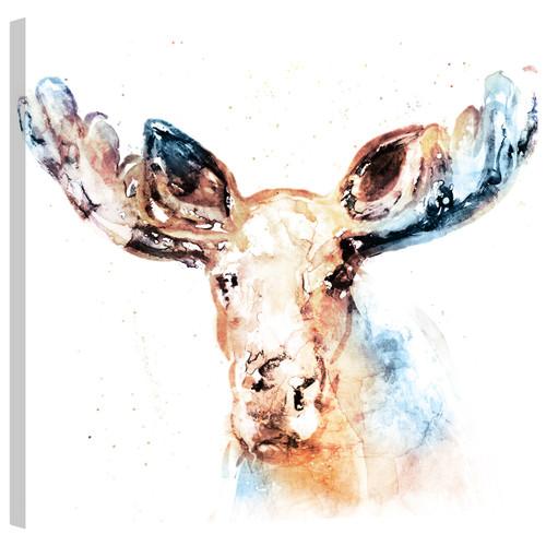 Watercolor Moose Mirror Wrapped Canvas