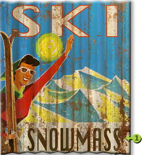 Waving Skier Personalized Corrugated Metal Sign