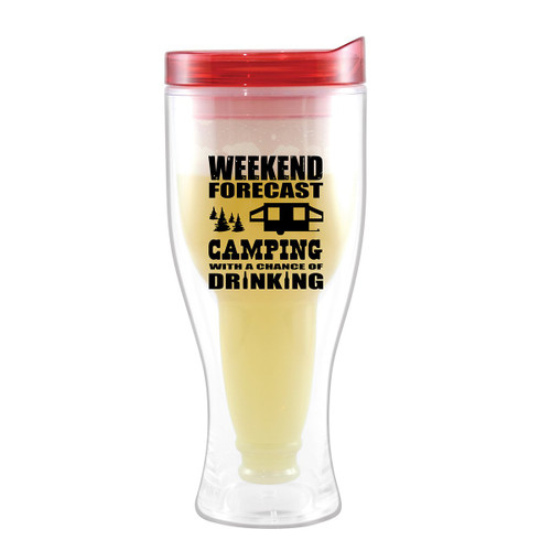 Weekend Forecast Beer Tumblers with Red Lids - Set of 4