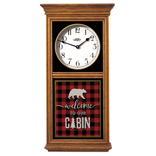 Welcome Cabin Plaid Wall Clock