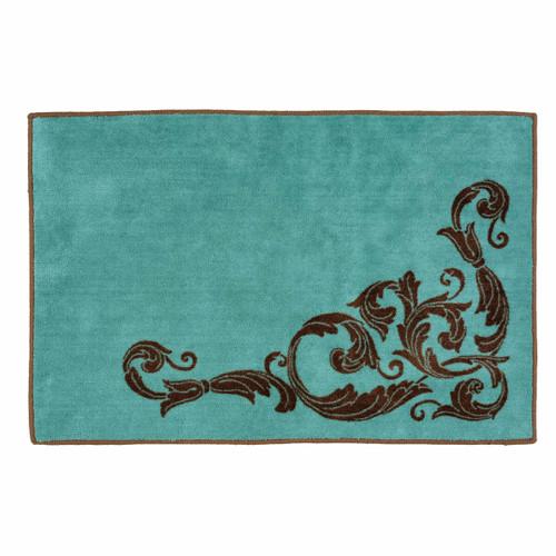 Western Scroll Turquoise Bath Rug