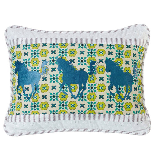 Western Spring Horse Embroidered Accent Pillow