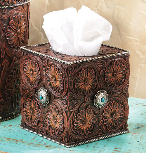 Western Tooled Leather Tissue Box