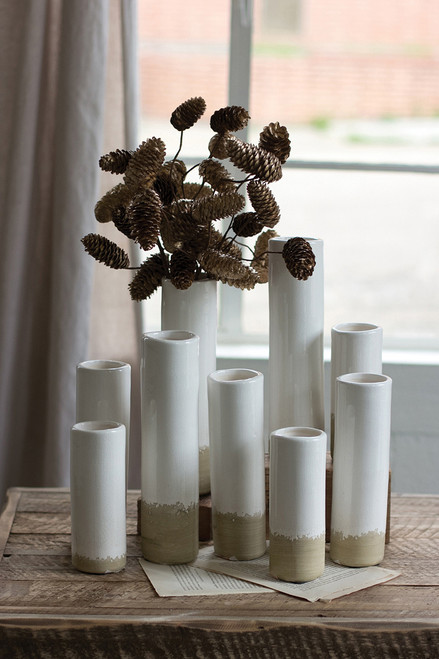 White Bud Vases - Set of 9